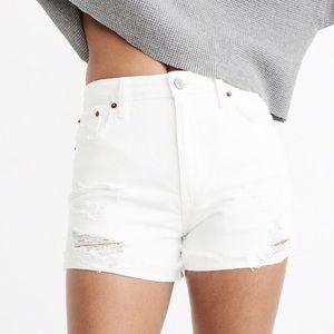 High Rise Girlfriend Jean Shorts - Ripped White 26
